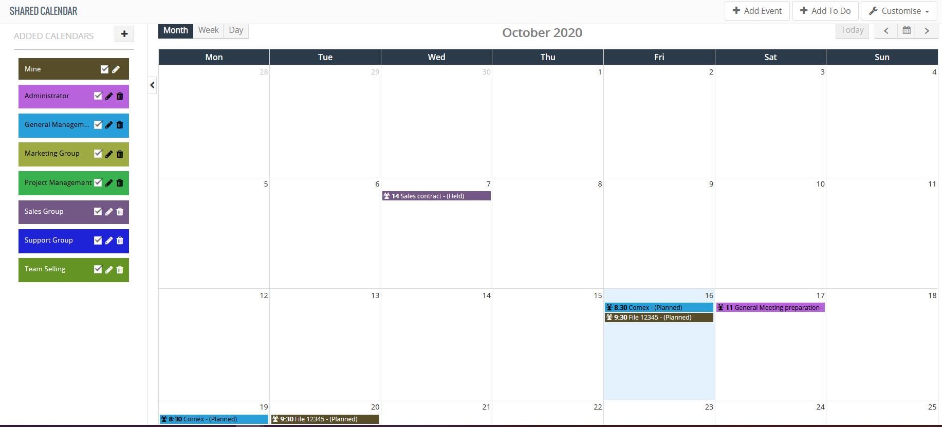 shared calendar month view